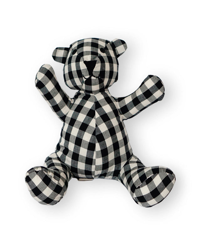 Teddy Bear in Black Gingham Cotton