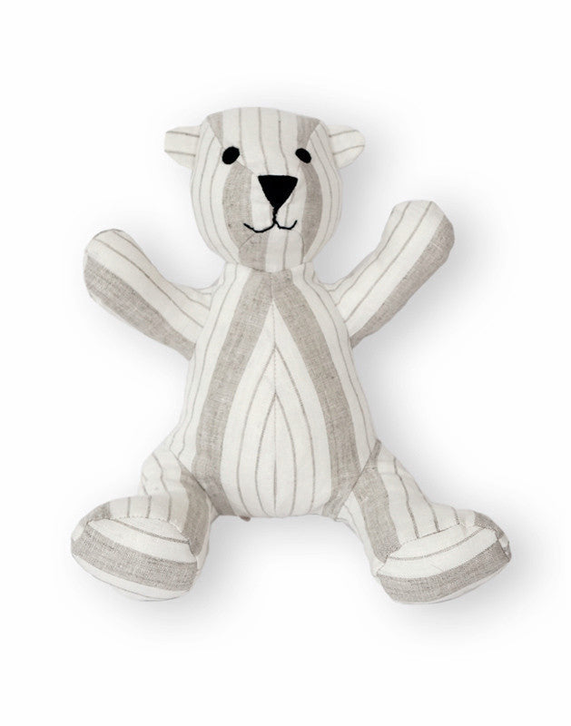 Teddy Bear in Striped Linen