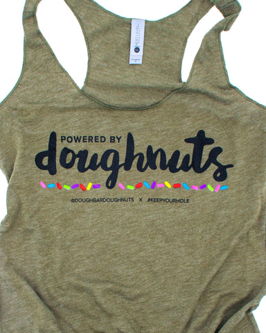 Powered By Doughnuts | Military Green Racerback [P#3]