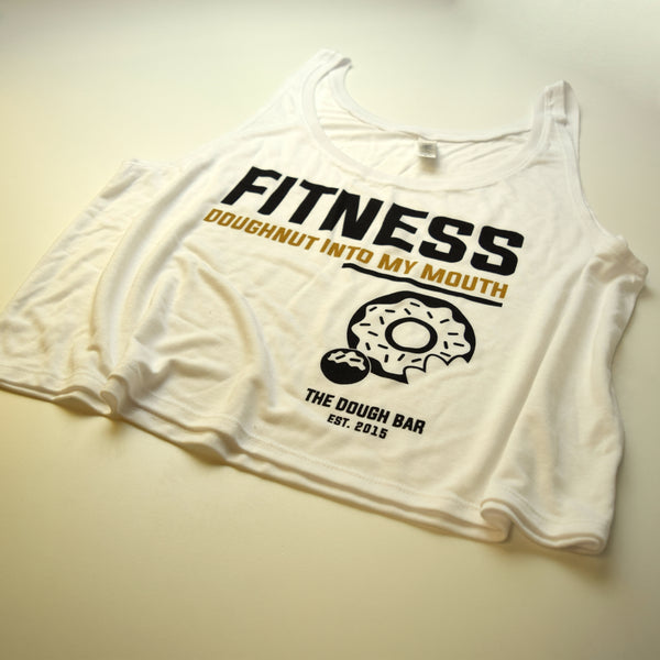 Fitness Doughnut into My Mouth Women's White Crop Tank [P#1]