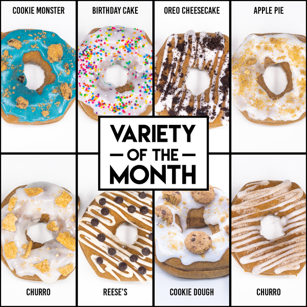 8 Pack - Raised Doughnuts - (9): Variety of the Month