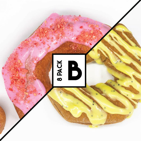 8 Pack (B) - Raised Doughnut - 4 Strawberry Shortcake + 4 Lemon Poppy