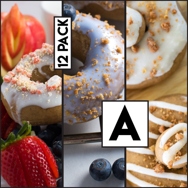 12 Pack (A) - Raised Doughnut - 4 Apple Pie / 4 Blueberry Streusel/ 4 Strawberry Cheesecake