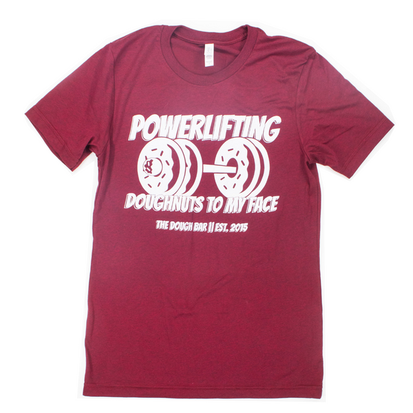 Powerlifting Doughnuts To My Face | Maroon Unisex Tee