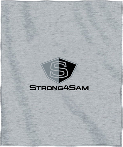 Heather grey sweatshirt blanket, Strong4Sam logo
