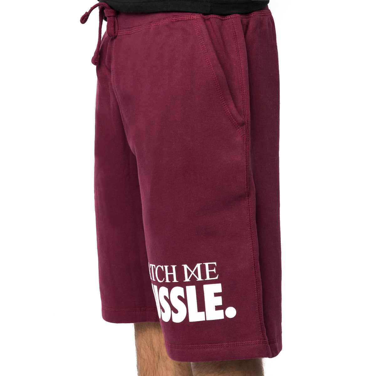 Hussle Fleece Shorts in Burgundy