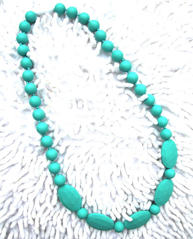 Aqua Mummy & Baby Teething Necklace - Silicone teething beads