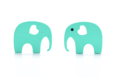 Aqua Silicone Teething Necklace Elephant