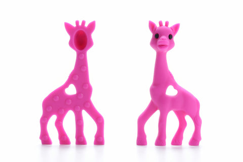 Hot Pink Silicone Teething Necklace Giraffe