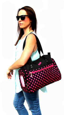 Ava Black & Pink Hearts Baby Bag