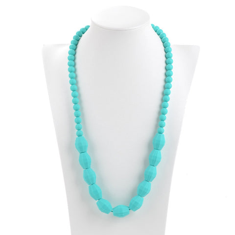 Aqua Mummy & Baby Teething Necklace - Silicone teething beads necklace
