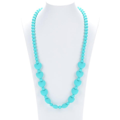 Aqua Mummy & Baby Teething Necklace - Hearts Silicone teething beads