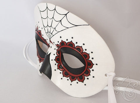 Day of the Dead / Dia de los Muertos Leather Mask - Red