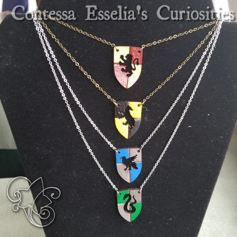 House Pendants - Laser cut,  hand carved & painted leather