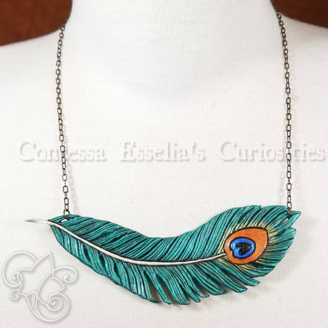 Peacock Feather Leather Pendant Necklace