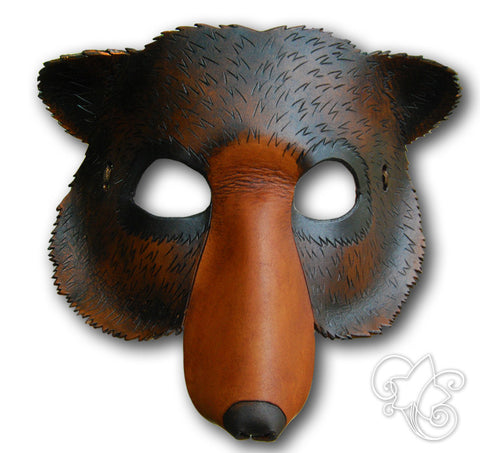 Leather Bear Mask with Fangs