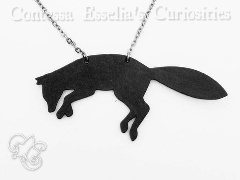 Leaping Fox Silhouette Leather Pendant Necklace