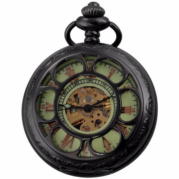 Hunter's Green Face Roman Pocket Watch