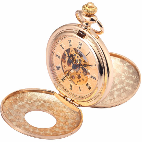 Hunter's Golden Roman Numeral Pocket Watch