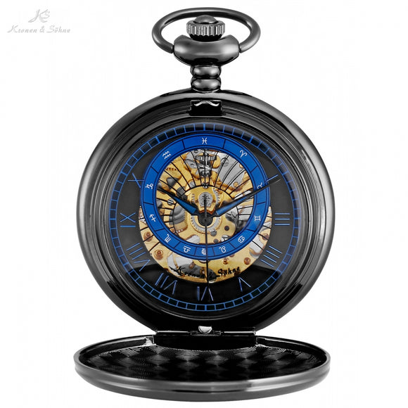 Montre Vintage Black Roman Constellations Pocket Watch