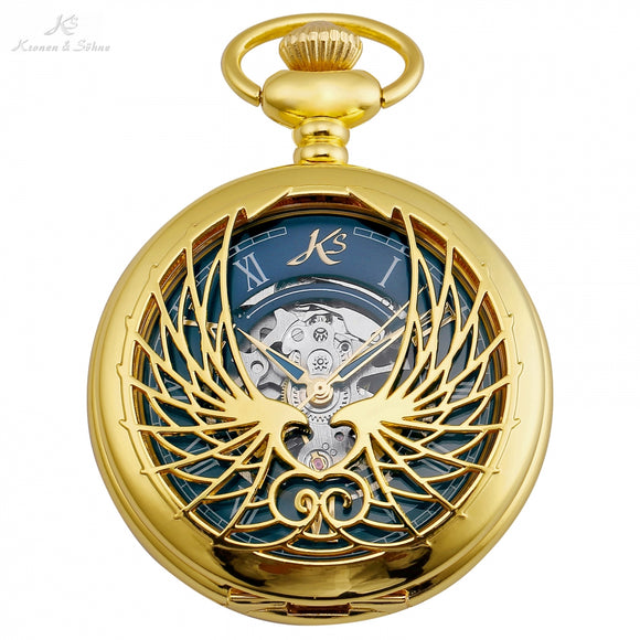 Hollow Wings Gold Pocket Watch