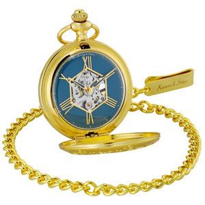 Snow Flower Hunter Blue Pocket Watch