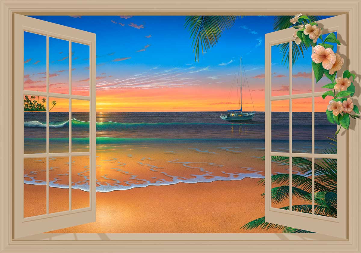 Evening in paradise window mural available in 3 sizes for Beach sunset mural