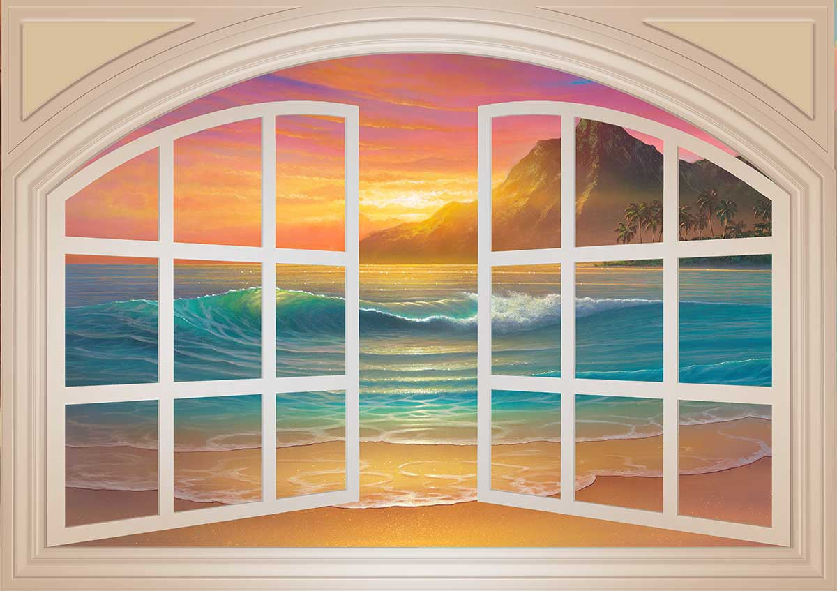 Window murals door murals and posters for sale for Beach sunset mural