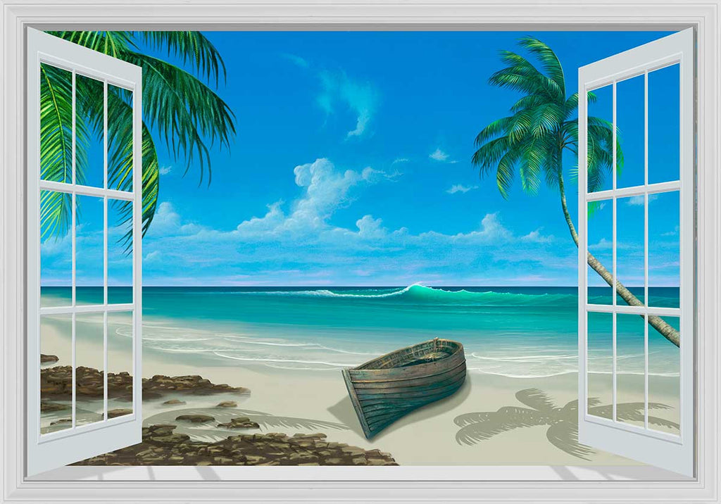 Escape to paradise white framed window mural murals 101 for Beach window mural