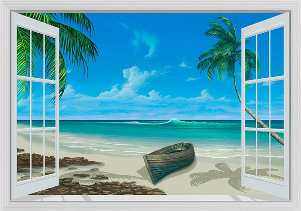 Escape To Paradise White Framed Window Mural Murals 101
