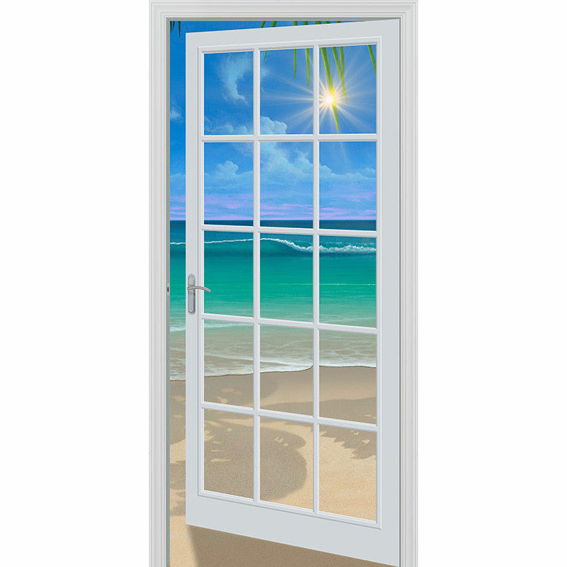Doorway to paradise 80 x 84 french door wall mural for Door wall mural