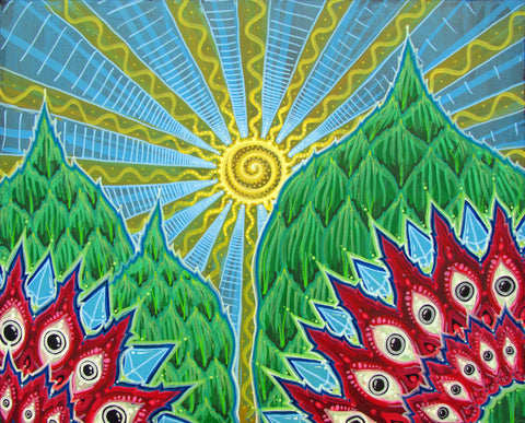 Dawn Over The Temples, art - Michael Garfield Visionary Art (michaelgarfieldart.com)