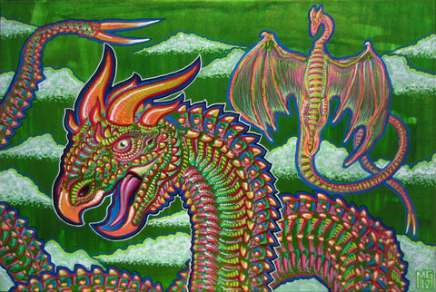 Rainbow Dragons, art - Michael Garfield Visionary Art (michaelgarfieldart.com)