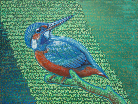 Kingfisher & Code, art - Michael Garfield Visionary Art (michaelgarfieldart.com)