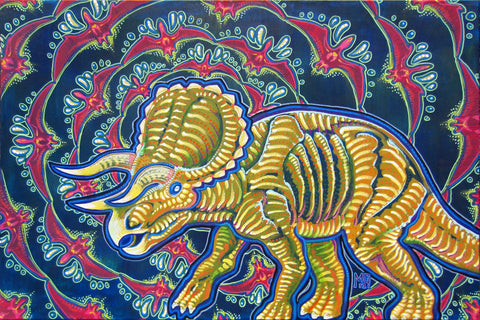 As Awesome As Three Unicorns (Triceratops), art - Michael Garfield Visionary Art (michaelgarfieldart.com)