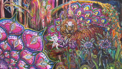 HeARTS Aware Collab (Cat in the Garden), art - Michael Garfield Visionary Art (michaelgarfieldart.com)