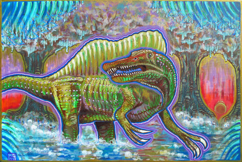 Godzilla Was Real! (Spinosaurus), art - Michael Garfield Visionary Art (michaelgarfieldart.com)