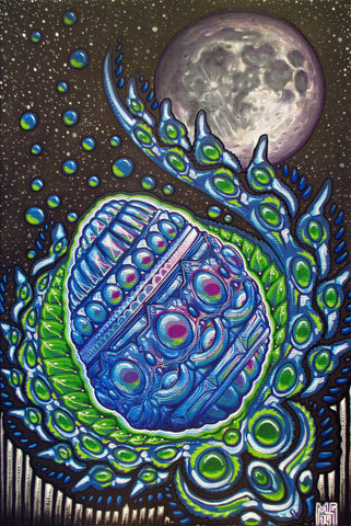 Crystal Moon Egg Bathes in Silver Light, art - Michael Garfield Visionary Art (michaelgarfieldart.com)