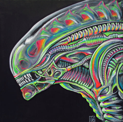 Rainbow Warrior (H.R. Giger Tribute), art - Michael Garfield Visionary Art (michaelgarfieldart.com)