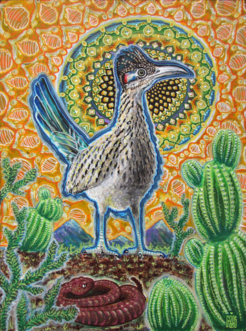 Attention (Roadrunner), art - Michael Garfield Visionary Art (michaelgarfieldart.com)