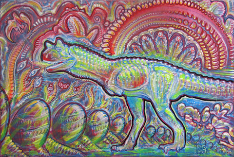 Carnotaurus Wakes Up In A Very Unfamiliar Place, art - Michael Garfield Visionary Art (michaelgarfieldart.com)