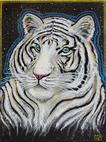 Strength of Conviction (White Tiger), art - Michael Garfield Visionary Art (michaelgarfieldart.com)