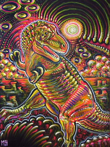 End of the World Party (Tyrannosaurus rex), art - Michael Garfield Visionary Art (michaelgarfieldart.com)