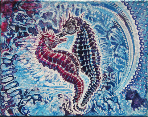 Sea Horse Lovers, art - Michael Garfield Visionary Art (michaelgarfieldart.com)