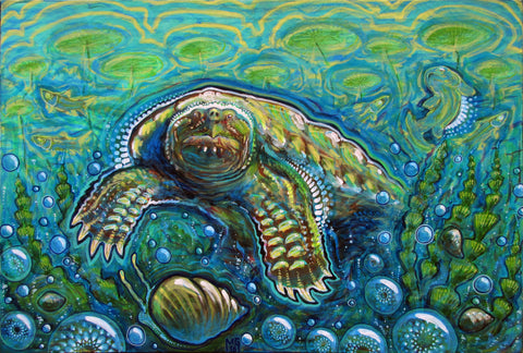 Kaiju (or, This Time The Turtle Wins), art - Michael Garfield Visionary Art (michaelgarfieldart.com)