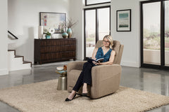 Pride Perfecta VivaLift Power Lift Recliner in room and woman