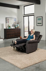 Pride Urbana VivaLift Power Lift Recliner in room with woman