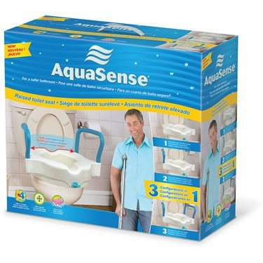 "AMG Aquasense 3-IN-1 4"" Raised Toilet Seat With Arms - MEDability Healthcare Solutions"