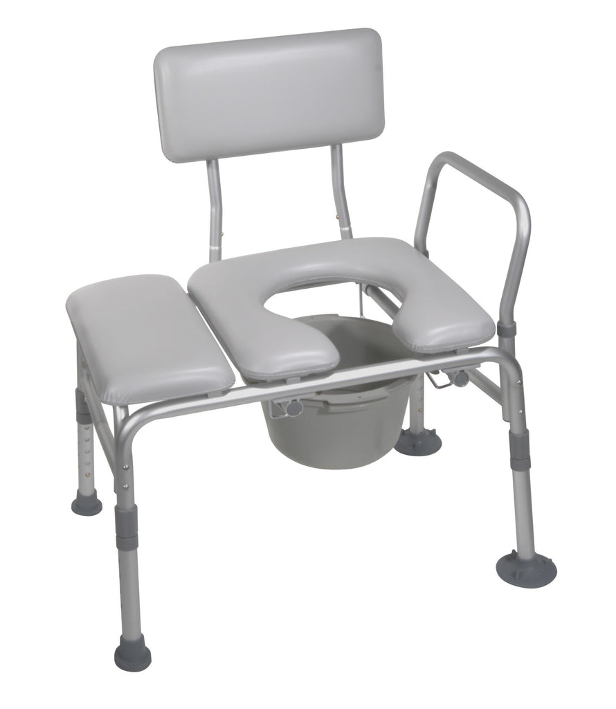 Padded Transfer Bench with Commode Padded Seat - MEDability