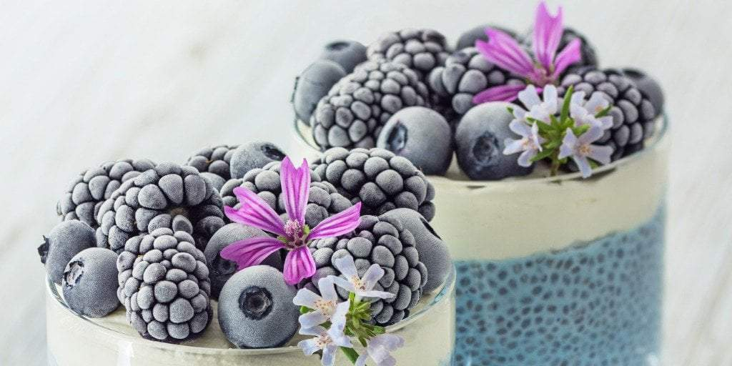 Vegan Blue Spirulina Chia Pudding, Whipped Coconut Cream & Berries Recipe